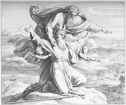 """The Pisgah Sight] God shows Moses the Promised Land"""" by Julius Schnorr von  Carolsfeld (1794–1872)."""