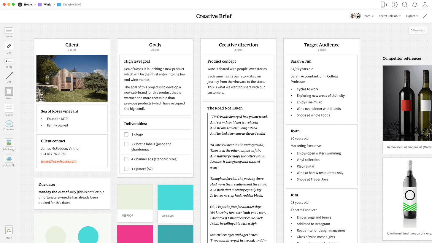 Creative Brief Template, within the Milanote app