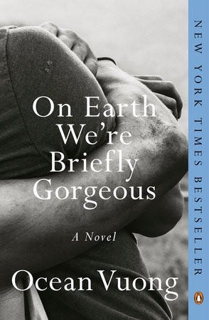 Cover of On Earth We're Briefly Gorgeous—B&W photos of someone with their arms wrapped around their knees.