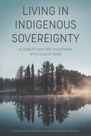 cover of the book Living in Indigenous Sovereignty. nice photo of trees reflected in a lake with some mist on the side