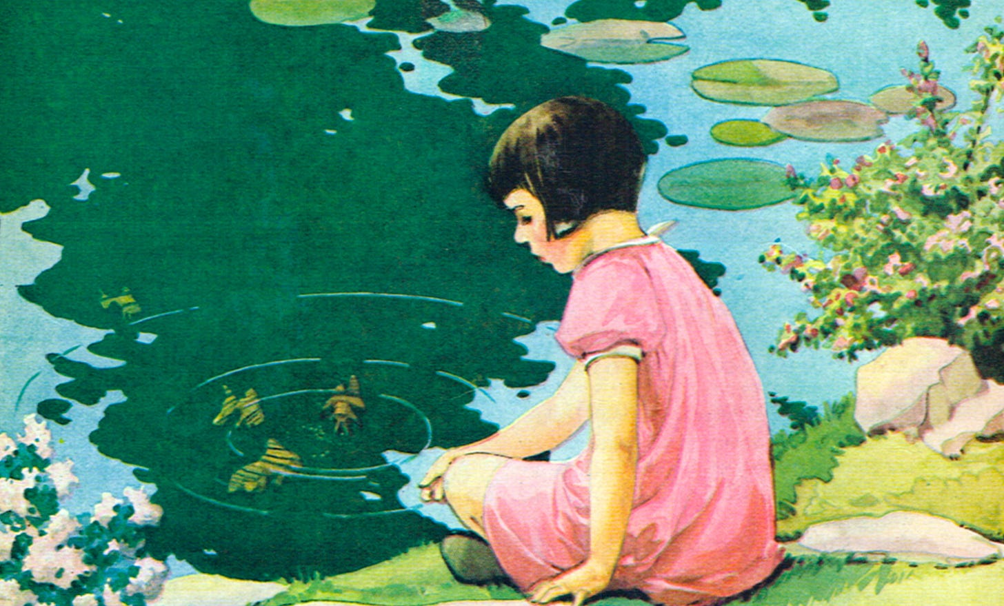 An illustration of a little girl sitting by a placid, calm pond. Original art by Miriam Story Hurford.
