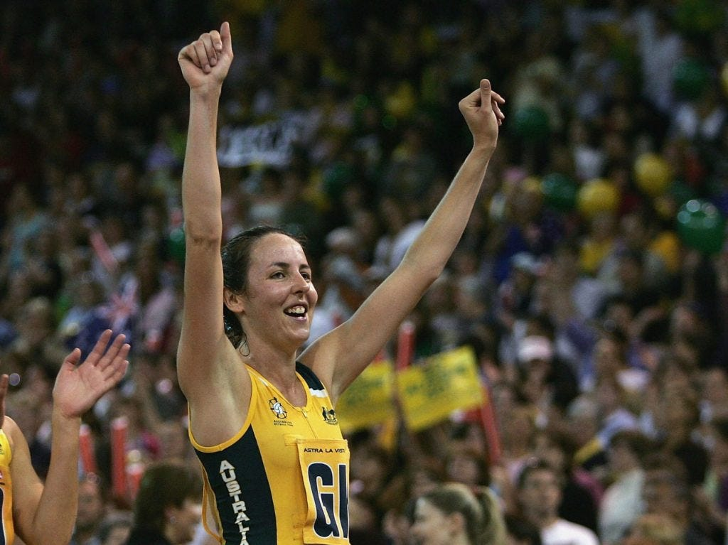 MELBOURNE, AUSTRALIA - NOVEMBER 20: Alison Broadbent and Liz Ellis of Australia celebrate their win in the Holden Astra Netball Series between Australia and New Zealand at Vodafone Arena on November 20, 2004 in Melbourne, Australia. (Photo by Mark Dadswell/Getty Images)