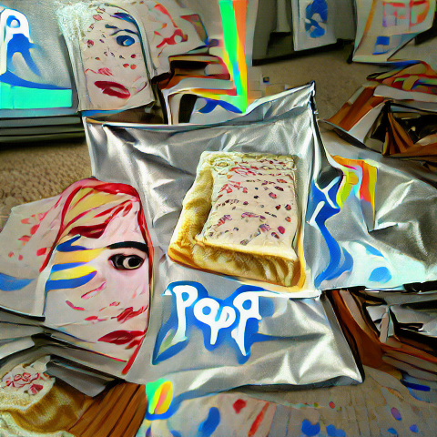 An AI generated image that looks sort of like a pop tart surrounded by shiny wrappers in a Pop Art painting style