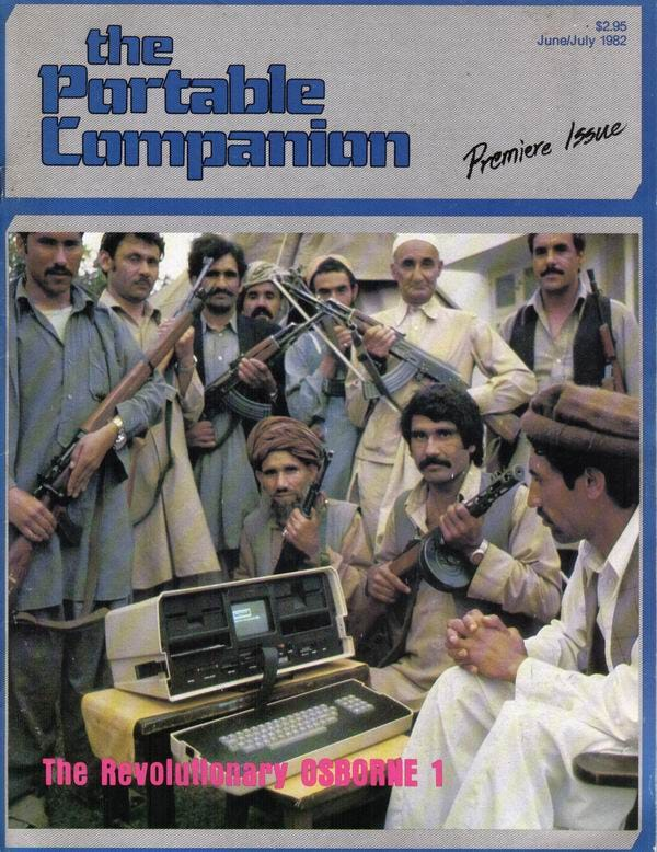 Cover of the magazine. There is a photo of an Osborne surrounded my 10 men with AK-47 rifles in native Afghanistan dress.