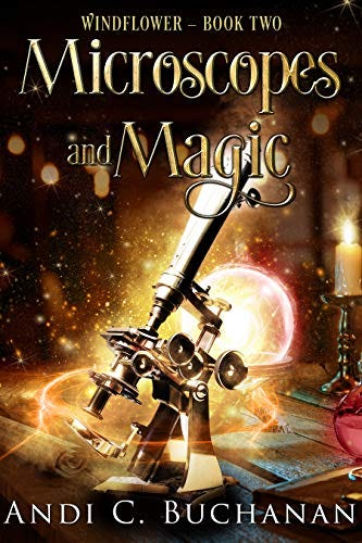 cover with an old school microscope and a magic glowy orb thing