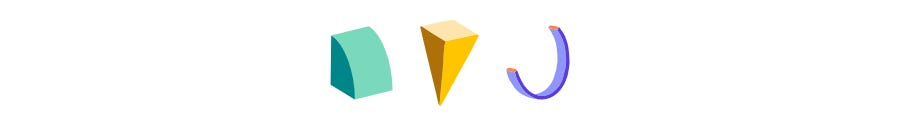 A break with three colorful shapes.