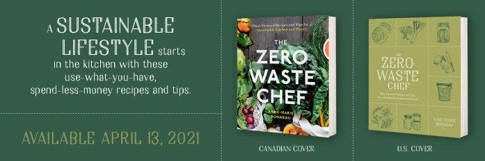 The Zero-Waste Chef cookbook covers, one for Canada, one for the US
