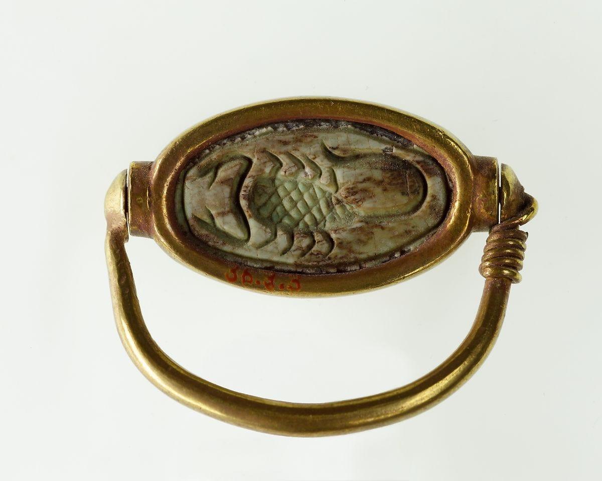 Ring of Hatnefer, Gold, glazed steatite