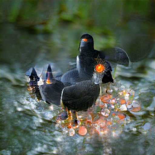 Very pretty and glowy, a few bird-shaped objects with glowing beaks and black pointy hats, standing among maybe jewels in a forest glade.
