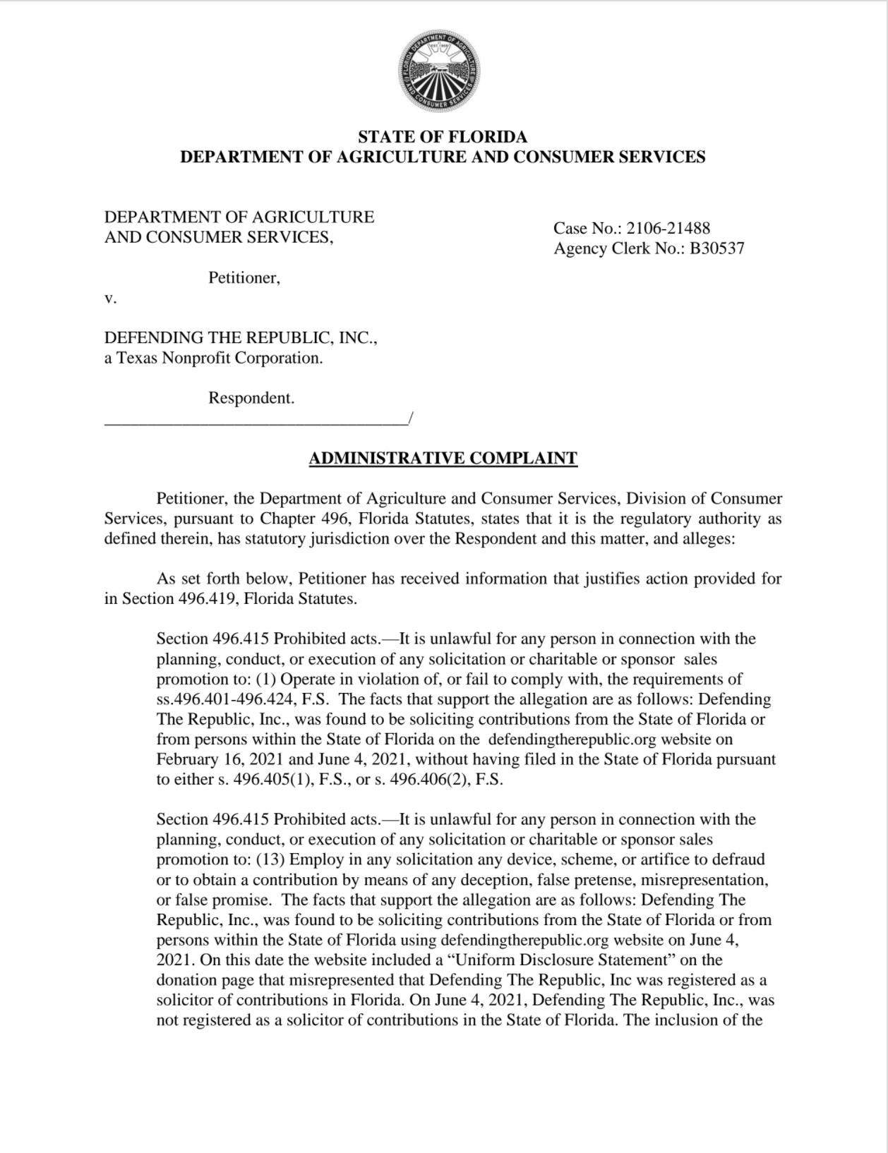 Florida complaint against Sidney Powell and Michael Flynn