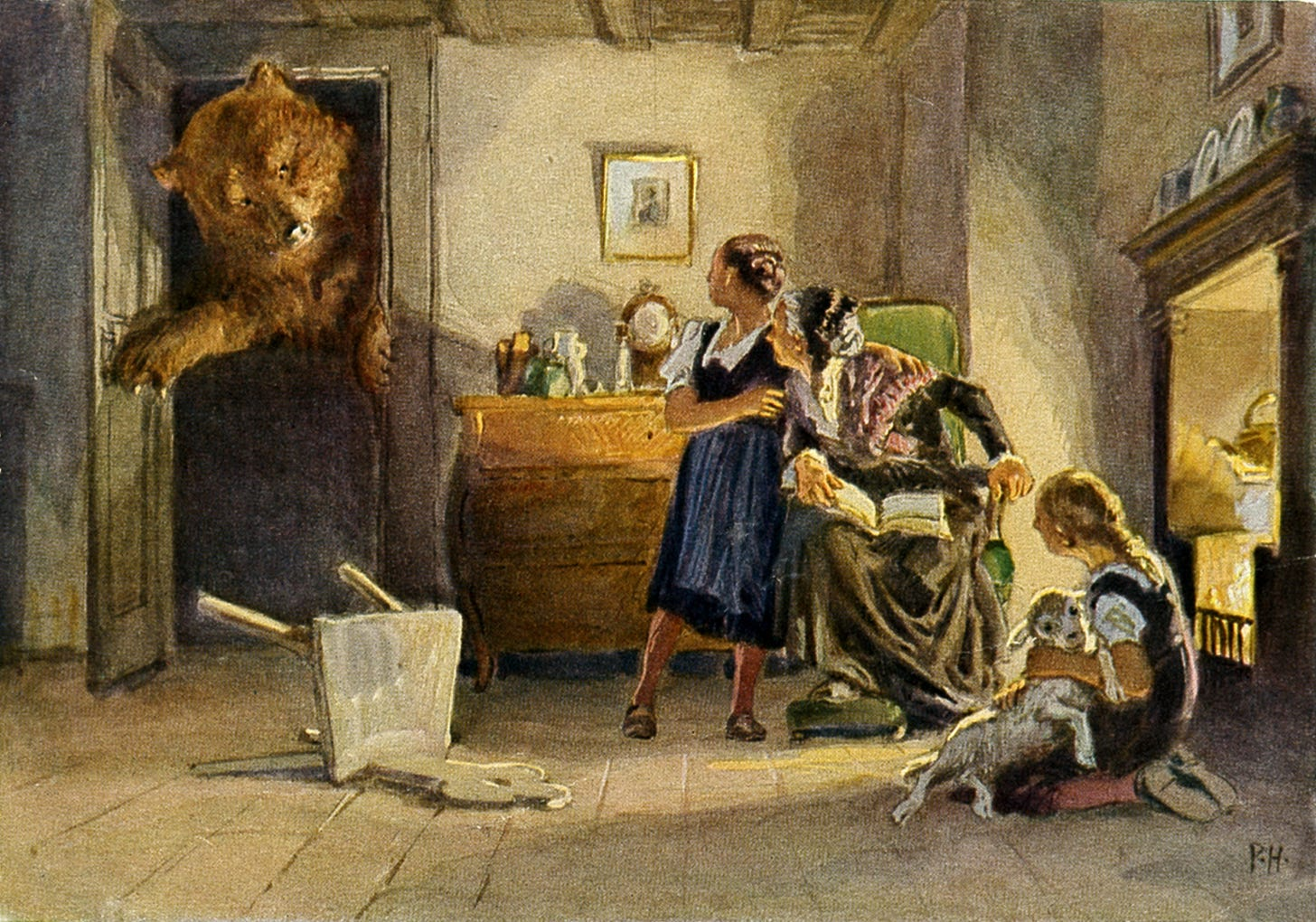 Bear entering room full of children in illustration from a Grimms' fairy tale