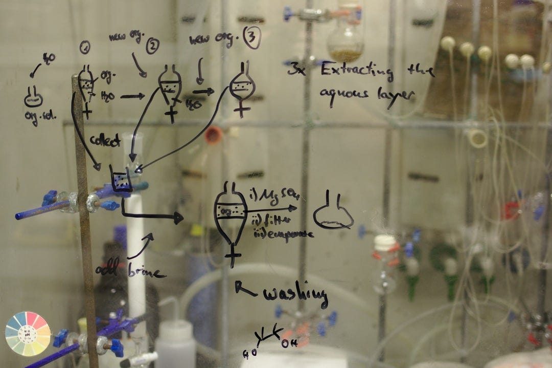 Work up of a reaction sketched on fume hood sash glass