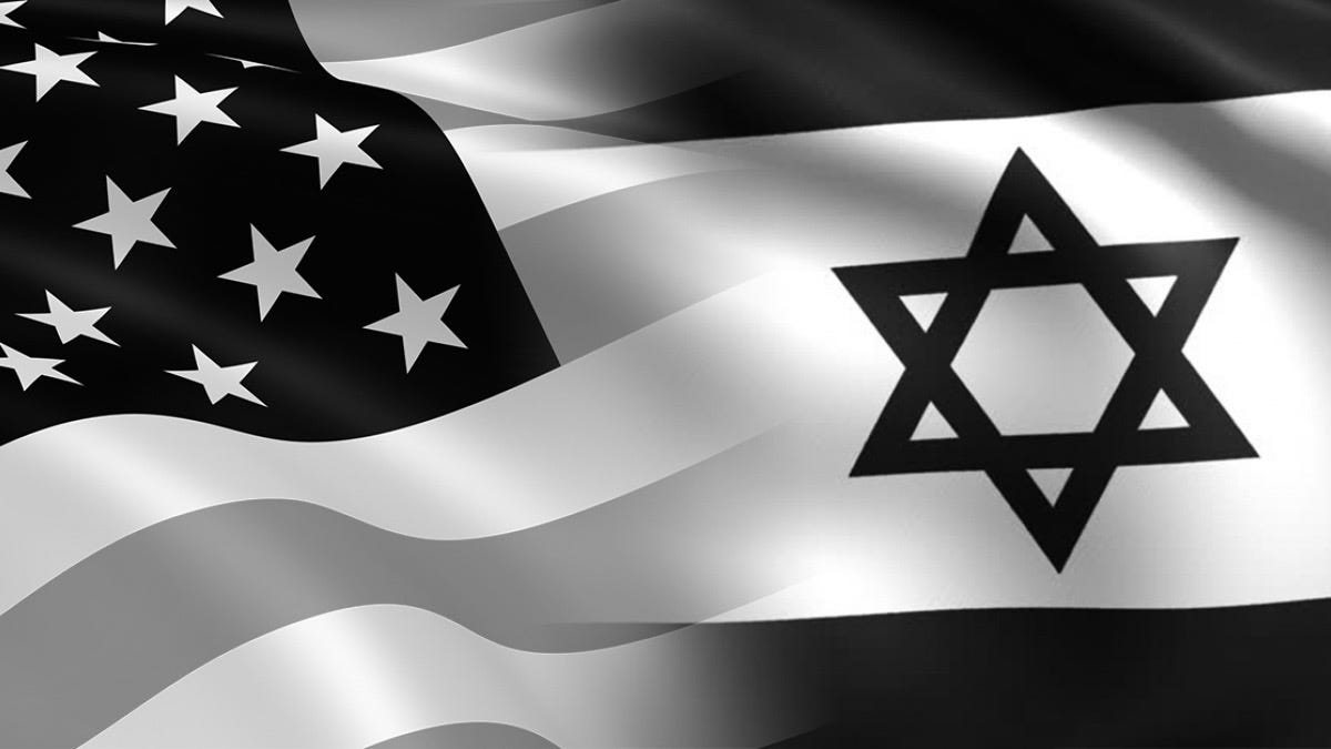 Graphic that blends the flags of the USA and Israel