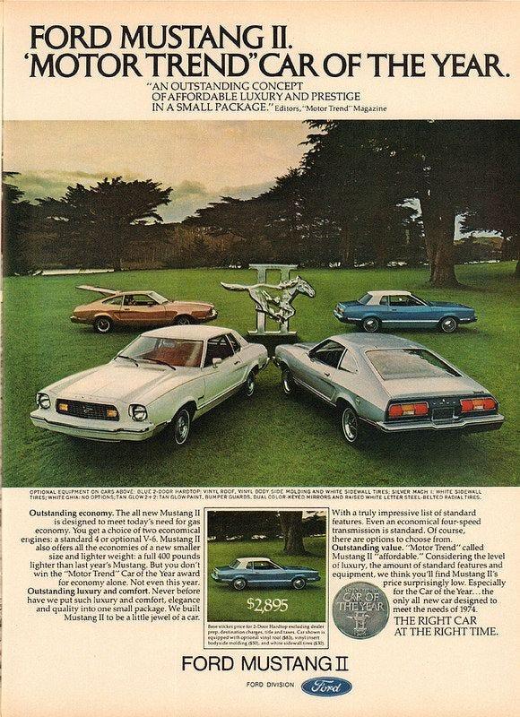 1974 Ford Mustang II Advertisement Motor Trend March 1974   Mustang ii,  Ford mustang, Mustang