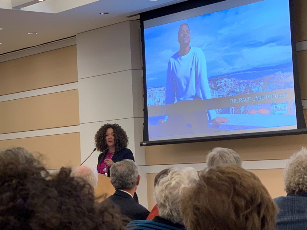 Michele Norris speaks during a January 9, 2019 event for the Rosenbach  Museum and Library held at the Free Library of Philadelphia's Parkway Central Branch.