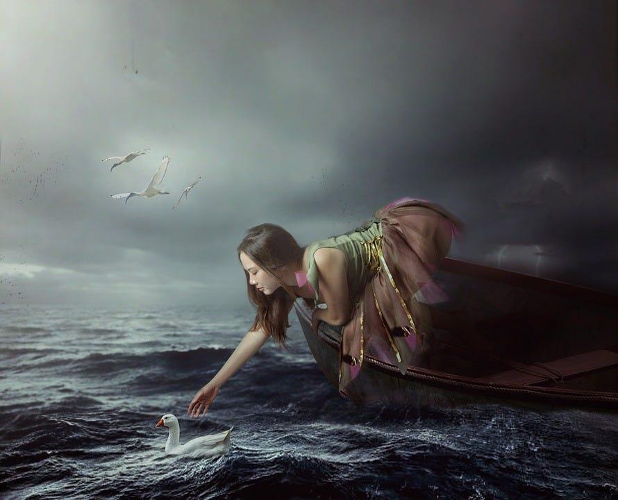 Fantasi, Wanita, Perahu, Angsa, Burung, The Sea, Kabut