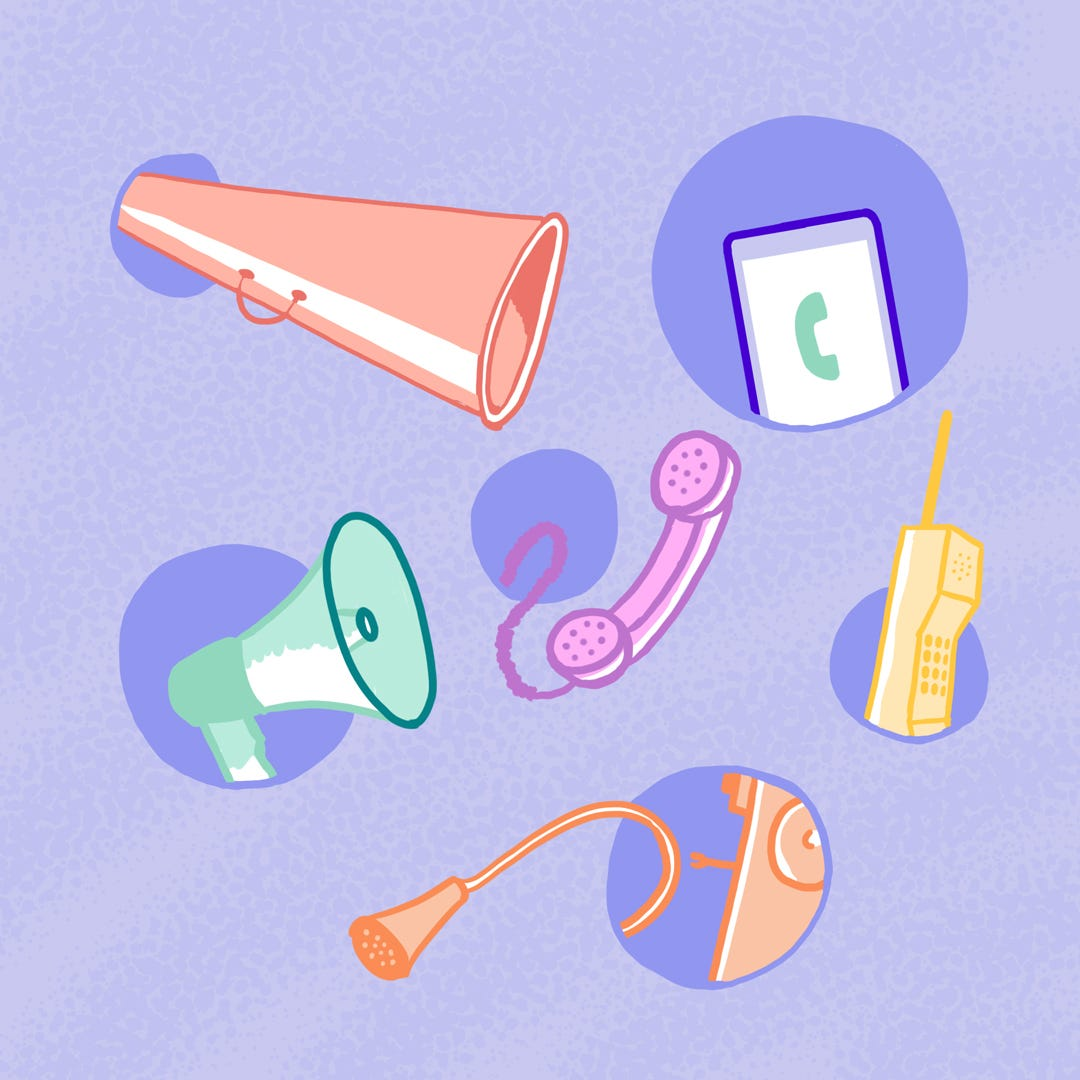 Image description: This illustration of six forms of vocal amplification and telephony include a megaphone, a smart phone, a rotary phone, a cellular phone, and a wall cabinet phone against a blue background.