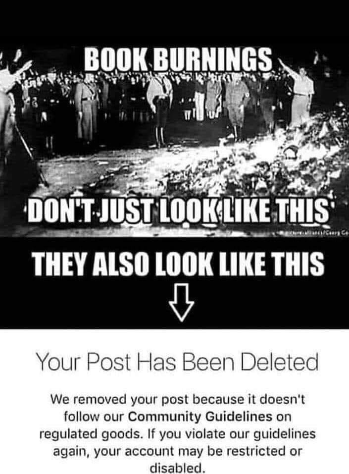 May be an image of text that says 'BOOK BURNINGS DON'T-JUST JUST LOOKLIKE THIS THEY ALSO LOOK LIKE THIS Your Post Has Been Deleted We removed your post because it doesn't follow our Community Guidelines on regulated goods. If you violate our guidelines again, your account may be restricted or disabled.'