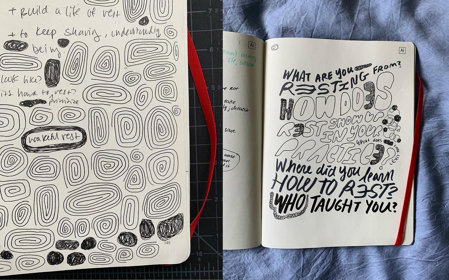 Bianca's doodles from her conversations in her sketchbook
