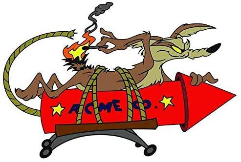 Amazon.com: EARLFAMILY Cartoon Car Sticker for Wile E Coyote Acme Rocket  Vinyl Decal Anime Car Styling Waterproof Accessories: Automotive