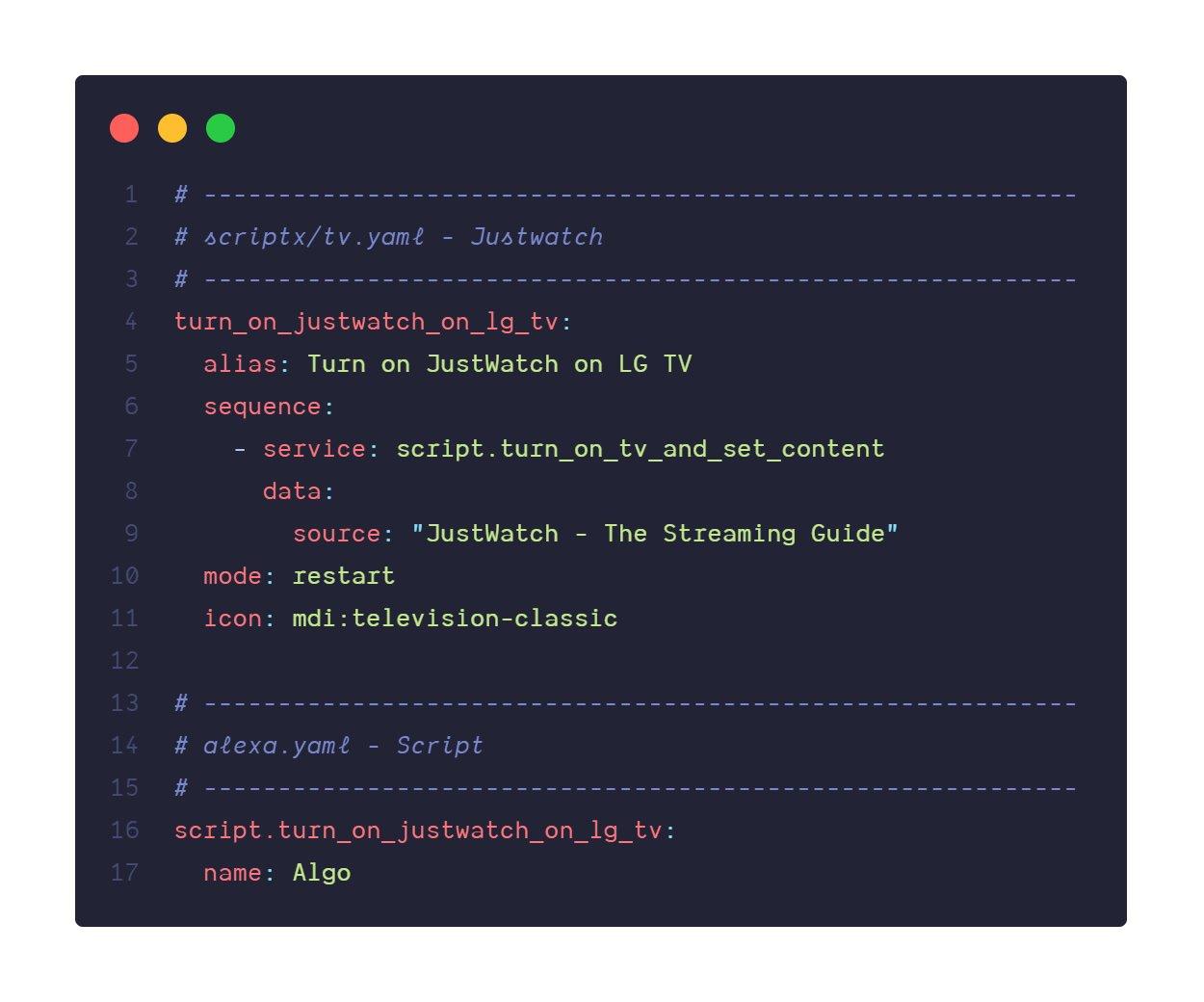 Codi de l'script d'activació de l'aplicació de JustWatch a una TV utilitzant  home assistant.