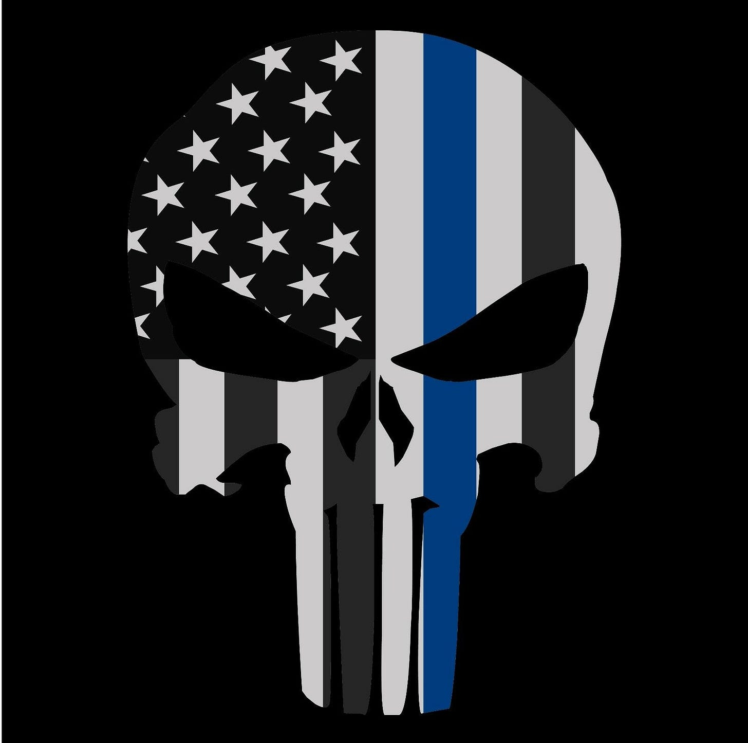 Punisher Skull Police Thin Blue Line American Flag Decal Sticker ...