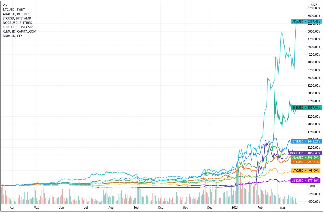 1Y Market Capitalisation of Bitcoin, Ethereum, Binance, Cardano, Litecoin, Chainlink and Dogecoin