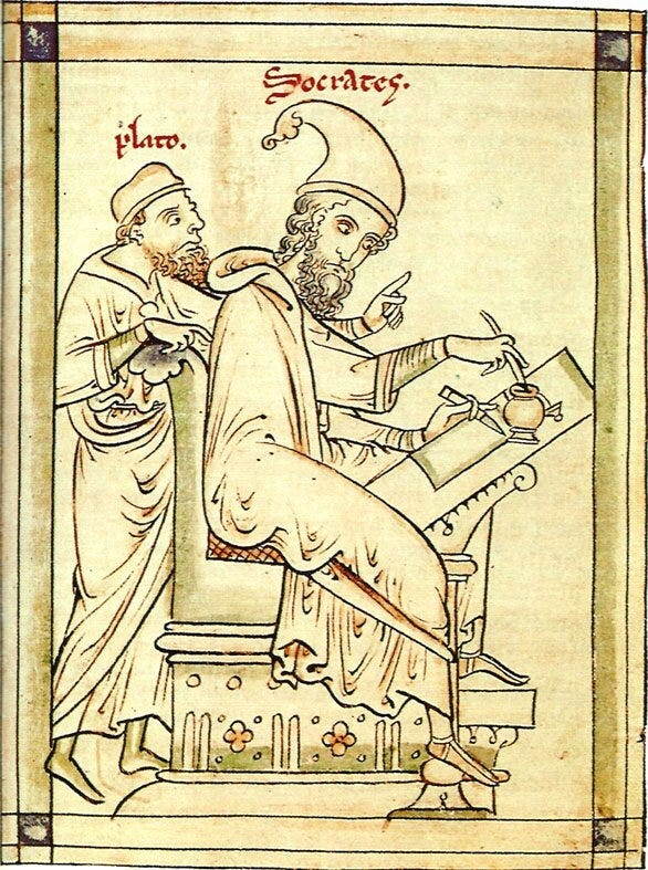 Postcard of the Month — Postcard of drawing of Plato and Socrates by  Matthew Paris of St Albans (d. 1259) Bodleian Library, Oxford, Ref. C.191  (ND) — Le Document