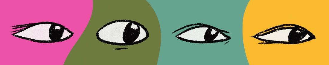 Sketches of eyes in various color blocks.