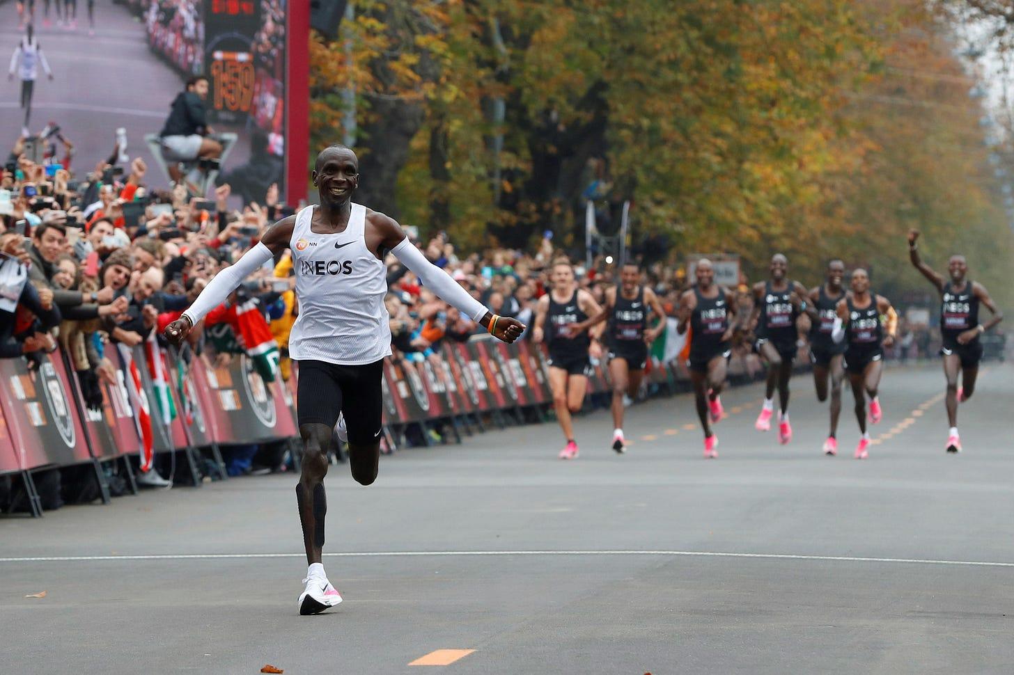 Eliud Kipchoge Breaks Two-Hour Marathon Barrier - The New York Times