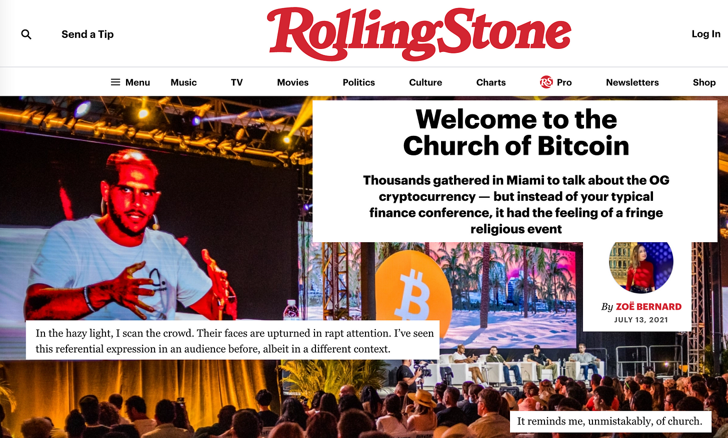 """Collage from Zoë Bernard's Rolling Stone feature """"Welcome to the Church of Bitcoin"""" including a picture of the crowd looking at a huge screen and stage, and the lines: """"In the hazy light, I scan the crowd. Their faces are upturned in rapt attention. I've seen this referential expression in an audience before, albeit in a different context. It reminds me, unmistakably, of church."""""""
