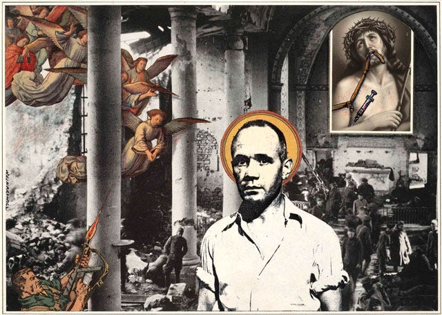 "A collage image partially in black and white, partially in color. One can see a real warzone in the background with an imposed image of Jesus shooting up in the top right. There are angels descending in on the top left, while in the bottom right a comic book soldier fires at them. ""In front"" of all of this is a photograph of Jean Genet with an imposed halo."