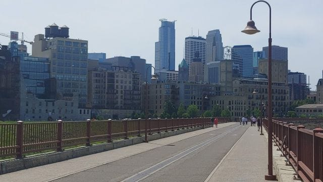 Image of downtown Minneapolis from Stone Arch Bridge