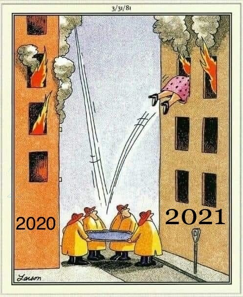 Far Side Comic: Woman jumps from burning building labeled: 2020 into a life net, which bounces her into a burning building marked: 2021
