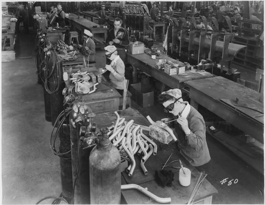 Women working in the welding room, welding and riveting, at the Canadian Car and Foundry Co.