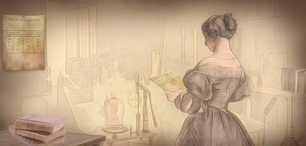 Drawing of a woman in 19th-century dress standing in front of a table with scientific instruments