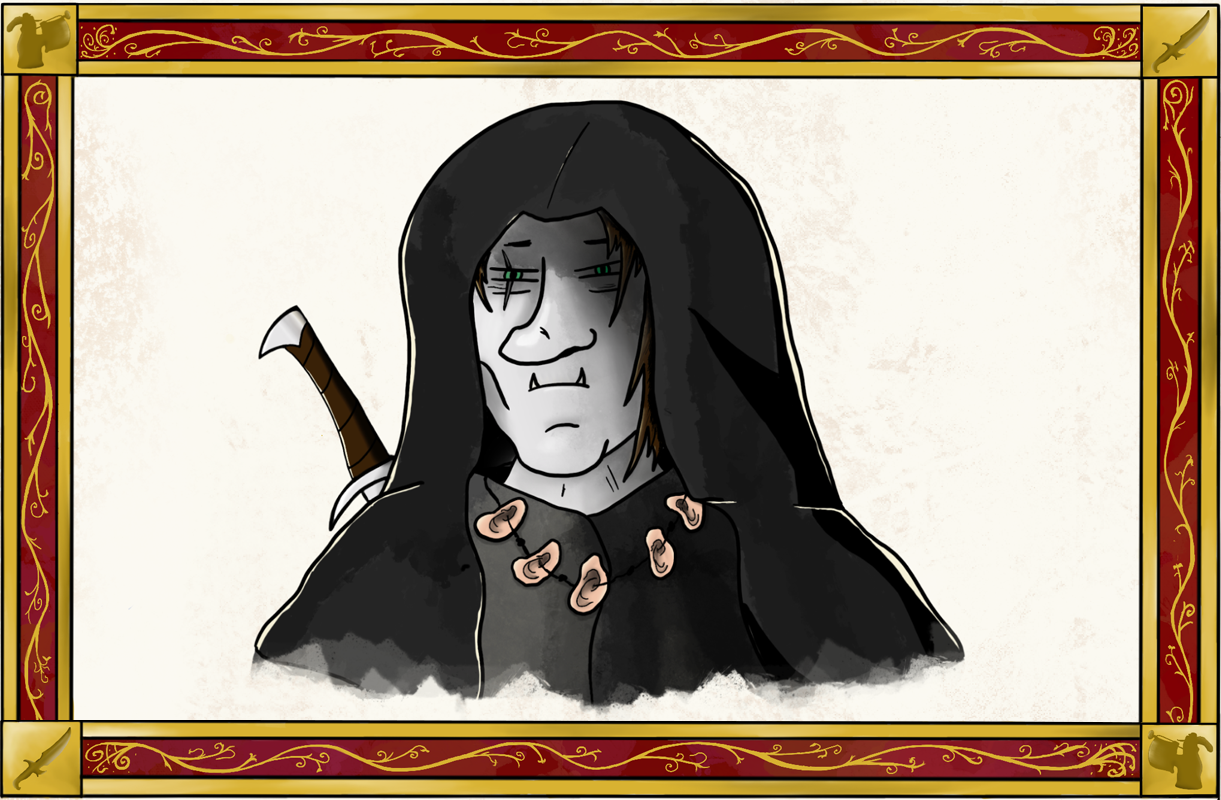 sinister hooded character with sword and necklace of ears