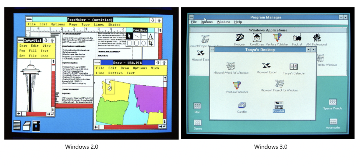Screenshots comparing Windows 2.0 and Windows 3.0