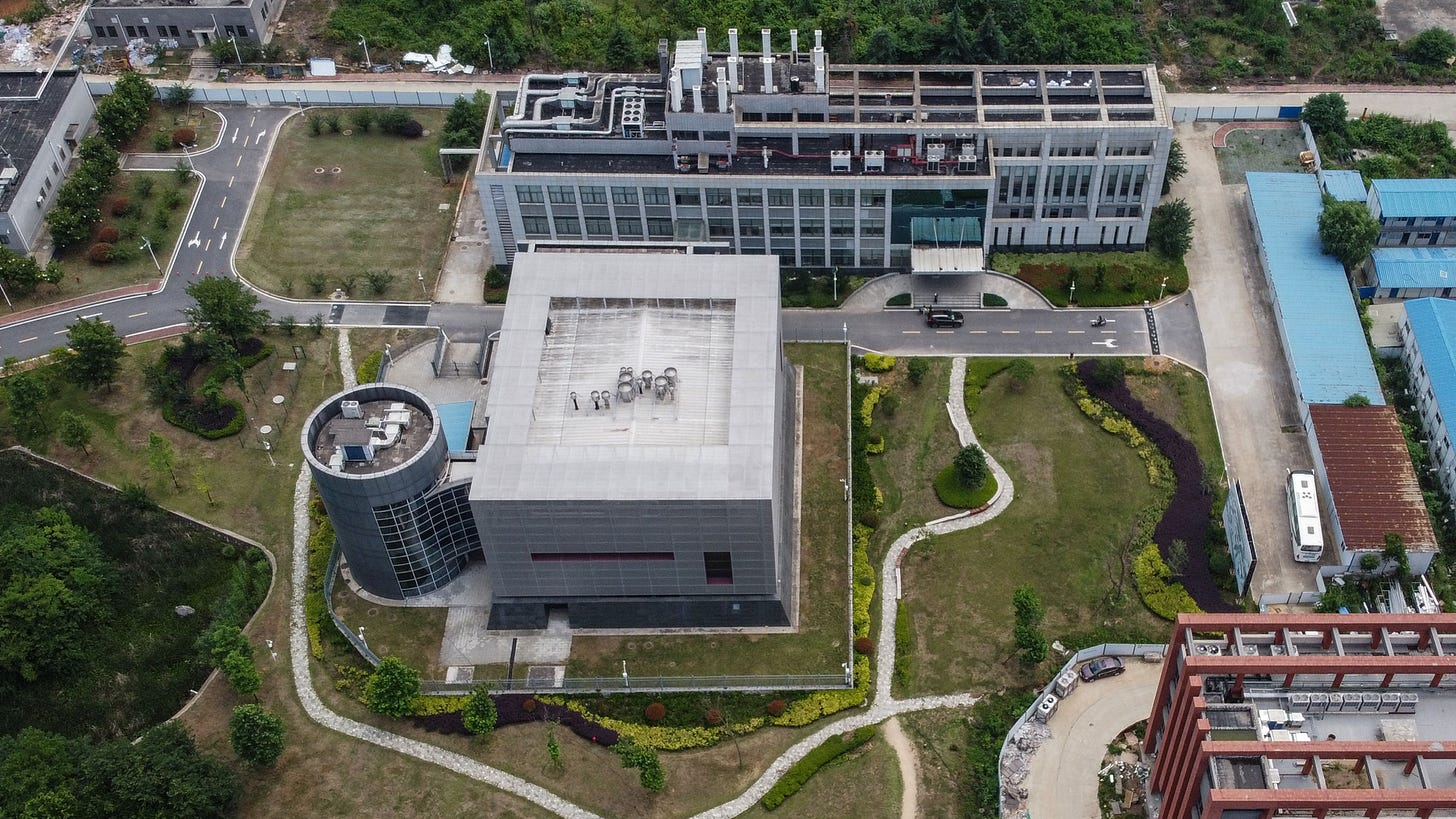 """This aerial view shows the P4 laboratory on the campus of the Wuhan Institute of Virology in Wuhan in China's central Hubei province on May 27, 2020. - Opened in 2018, the P4 lab conducts research on the world's most dangerous diseases and has been accused by some top US officials of being the source of the COVID-19 coronavirus pandemic. China's foreign minister on May 24 said the country was """"open"""" to international cooperation to identify the source of the disease, but any investigation must be led by the World Health Organization and """"free of political interference"""". (Photo by Hector RETAMAL / AFP) (Photo by HECTOR RETAMAL/AFP via Getty Images)"""