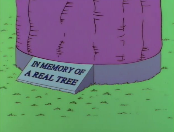"""Screenshot of a Simpsons episode that features a hologram tree """"In Memory of A Real Tree."""""""