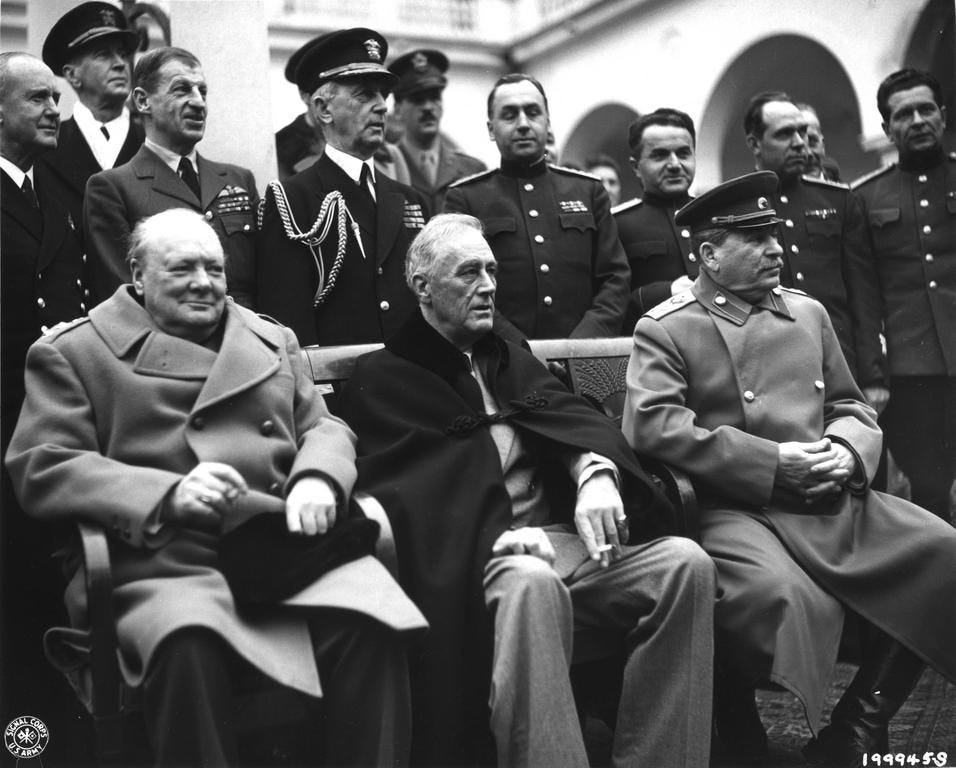 Churchill, Roosevelt and Stalin in Yalta, 1945. | Allied powers ...
