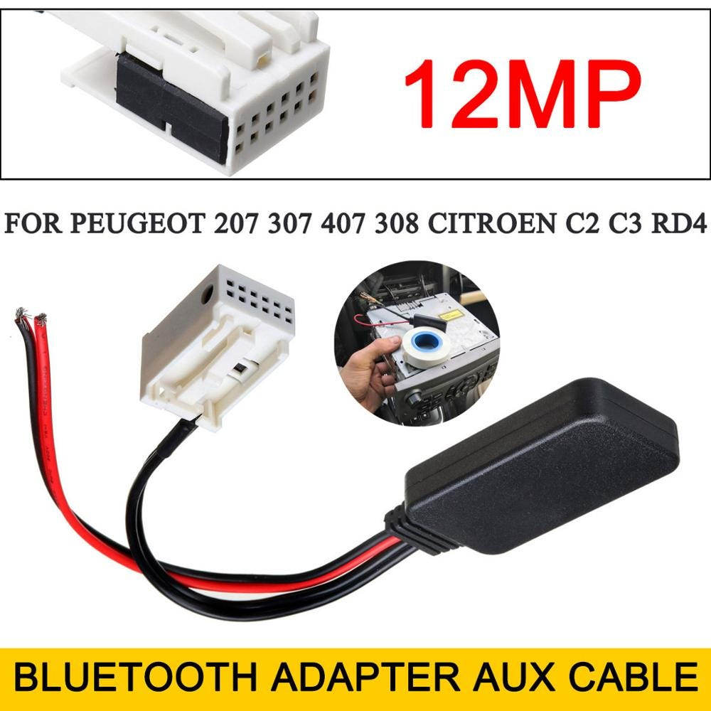 12Pin Car Bluetooth Adapter Aux Cable For Peugeot 207 307 407 Citroen C2 C3 RD4
