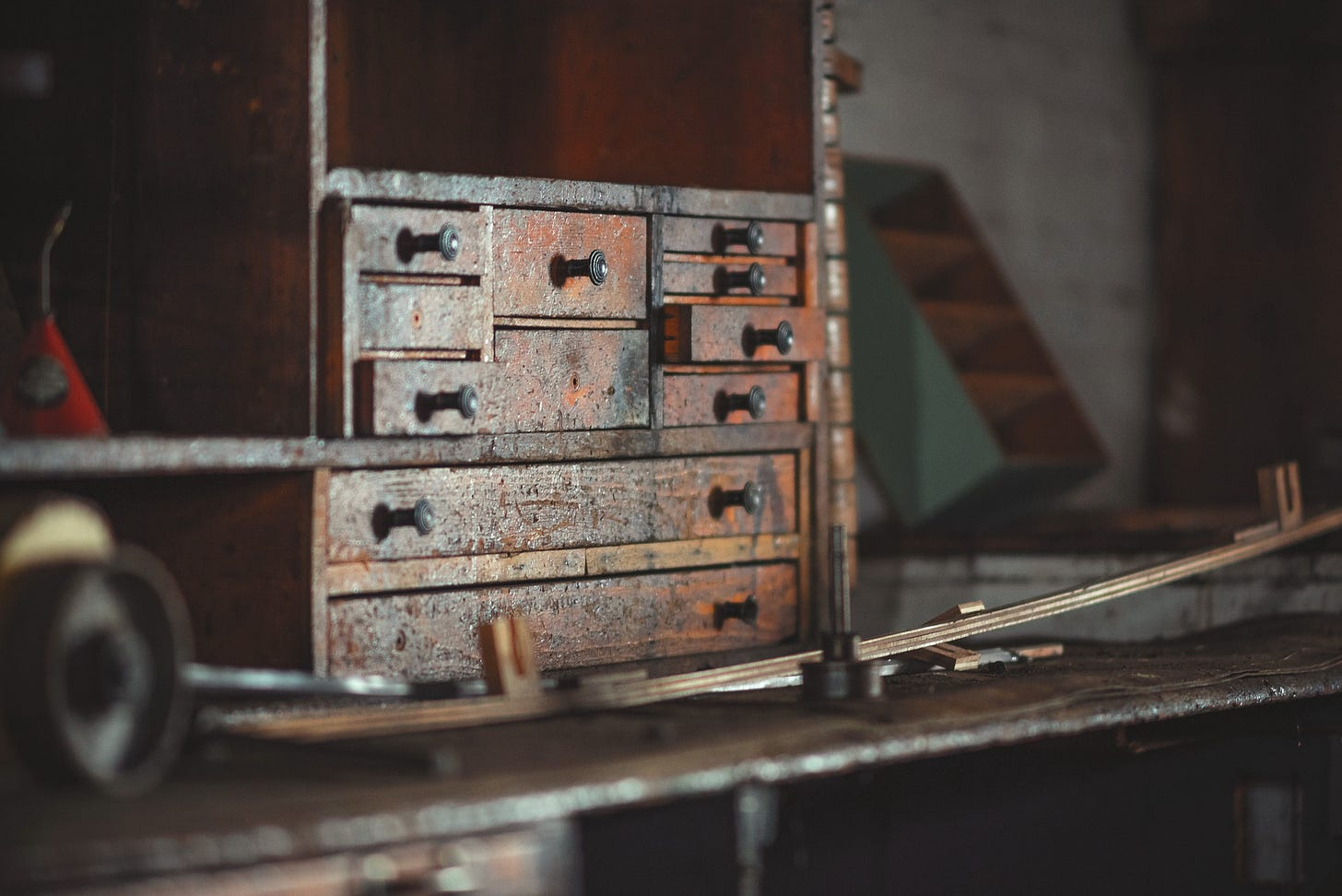 image of an old workshop storage unit for article titled making a case for ordinary.