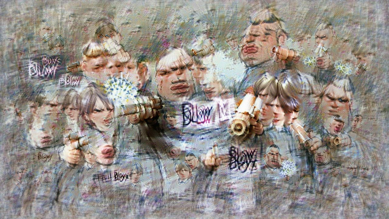 The Bully Boys are all scowling, and some appear to be pursing their lips to blow. They have the classic Draco Malfoy blond haircuts. Scattered throughout the image are little puffs of air, and mostly illegible writing saying BLOW