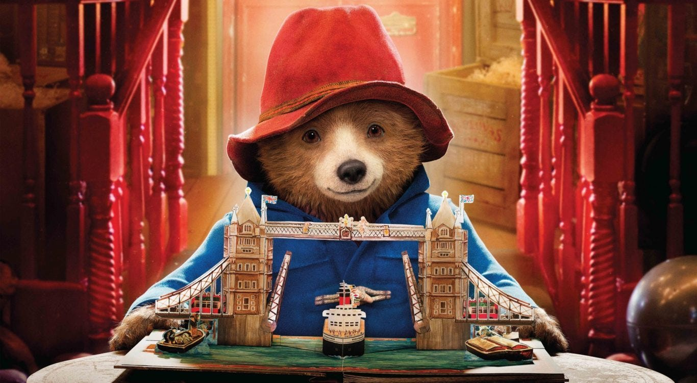 Paddington Bear, with the pop up book ofLondon for Aunt Lucy