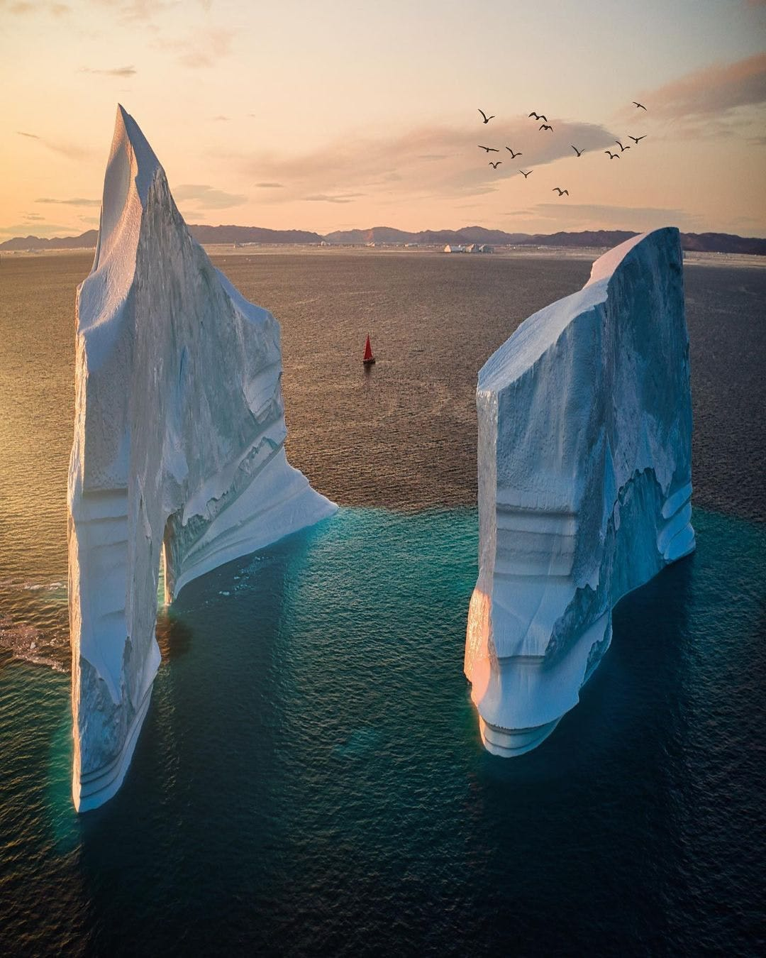 Two massive vertical icebergs