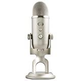 Blue Yeti USB Mic for Recording & Streaming on PC and Mac, 3 Condenser Capsules, 4 Pickup Patterns, Headphone Output and Volume Control, Mic Gain Control, Adjustable Stand, Plug & Play - Platinum