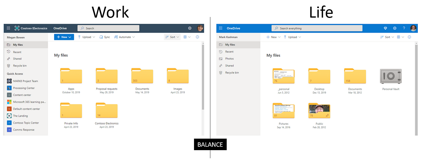 On the left, Megan Bowen's OneDrive Web experience at Contoso Inc.. And on the right, my experience on OneDrive.live.com - my personal account.