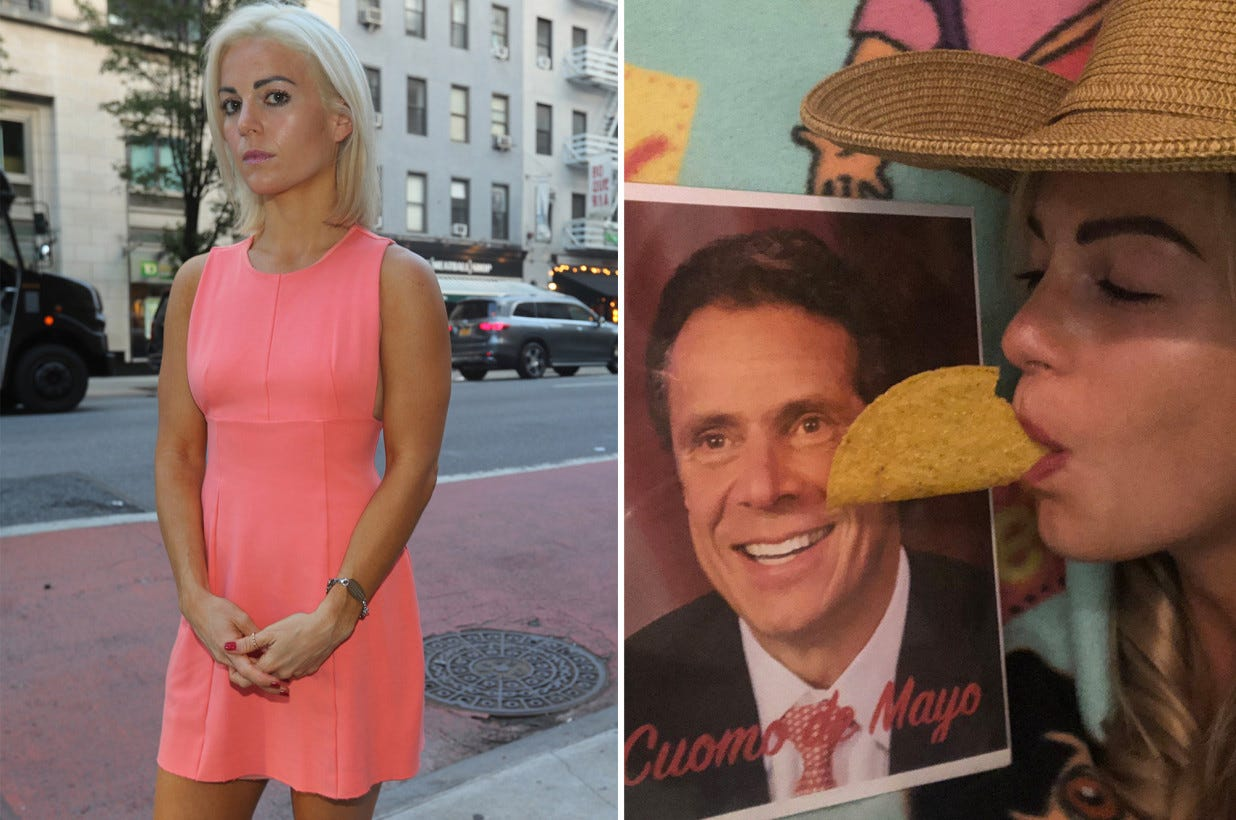 """Two images of a young blonde woman. On the right, she """"shares"""" a taco with a picture of Andrew Cuomo captioned """"Cuomo de Mayo,"""" in a characteristic bit of Cuomosexual foolishness. On the left she poses on the street looking ashamed of herself."""
