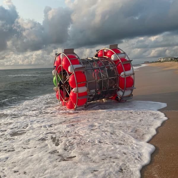 """The """"hydro pod"""" that Reza Baluchi washed ashore in on Saturday in Florida."""